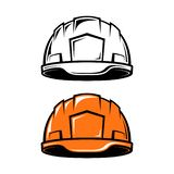 Bau, industrieller Sturzhelm in der Karikaturart vektor abbildung