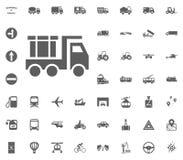 Bau-LKW Gesetzte Ikonen des Transportes und der Logistik Gesetzte Ikonen des Transportes Lizenzfreies Stockfoto