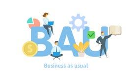 BAU, negocio como de costumbre Concepto con palabras claves, letras e iconos Ejemplo plano en el fondo blanco Aislado stock de ilustración