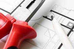 Bau-Plan-Werkzeuge Lizenzfreie Stockfotografie
