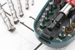 Bau-Plan-Werkzeuge Stockbild