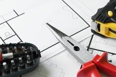 Bau-Plan-Werkzeuge Lizenzfreies Stockbild