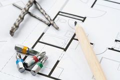 Bau-Plan-Werkzeuge Lizenzfreies Stockfoto