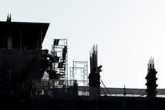 Bau, Schattenbild, Hintergrund Lizenzfreie Stockbilder