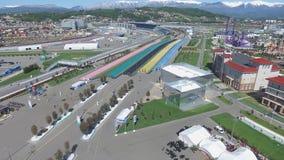 Bau SOCHIS, RUSSLAND von neuen Hotels im olympischen Dorf in Sochi, Russland Die Kapazität erreicht 2.600 Menschen E Lizenzfreies Stockbild
