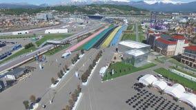 Bau SOCHIS, RUSSLAND von neuen Hotels im olympischen Dorf in Sochi, Russland Die Kapazität erreicht 2.600 Menschen E Stockbilder