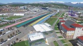 Bau SOCHIS, RUSSLAND von neuen Hotels im olympischen Dorf in Sochi, Russland Die Kapazität erreicht 2.600 Menschen E Lizenzfreie Stockbilder
