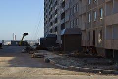 Bau von Apartmenthäusern Stockfoto