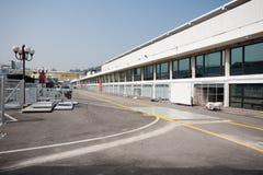 Bau von Garagenkästen für Rennen Macao Grandprix Stockbild