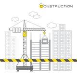 Bau von Gebäuden auf weißem Hintergrund Stockfotografie