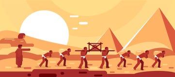 Bau von ?gyptischen Pyramiden Sklavenbewegungsbl?cke f?r das Errichten Auch im corel abgehobenen Betrag stock abbildung