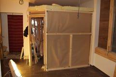 Bau von Saunen Stockbild