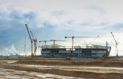 Bau von Sportanlagen Stockfoto