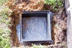 Bau von Wasserableitungen im Boden Lizenzfreies Stockbild