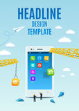 Bau weißer Smartphone, Software und bewegliche Anwendungsentwicklung Vektorschablonendesign-Abdeckungsbuch, Flieger Stockbild