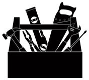 Bau-Werkzeuge Werkzeugkasten-in der Schwarzweiss-Vektor-Illustration Stockfotos