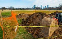 Bau Zilker-Park-Austin Texas-Frontlader Erdgräber Lizenzfreie Stockfotos