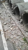 Bauabfall neben der Straße Lizenzfreies Stockbild