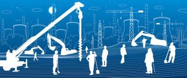 Bauanlage Leutearbeiten Industriemaschinerie, -kräne und -planierraupen Städtische Gebäudeillustration der Infrastruktur Vektor vektor abbildung
