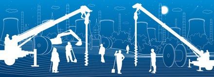 Bauanlage Leutearbeiten Industriemaschinerie, -kr?ne und -planierraupen St?dtische Geb?udeillustration der Infrastruktur Vektor vektor abbildung