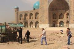 Bauarbeit in Registan Lizenzfreie Stockbilder