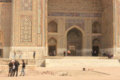 Bauarbeit in Registan Stockfotografie