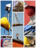 Bauarbeitcollage Stockfoto