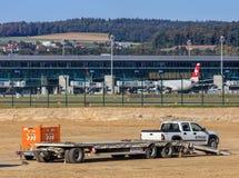 Bauarbeiten im Zürich-Flughafen Lizenzfreie Stockfotos