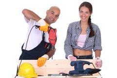 Bauarbeiter bei der Arbeit Stockfoto