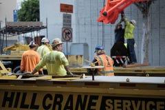 Bauarbeiter bei der Arbeit in DTLA lizenzfreie stockfotografie