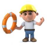 Bauarbeiter 3d kommt zur Rettung Lizenzfreie Stockbilder