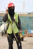 Bauarbeiter, der Backup fordert lizenzfreie stockbilder