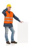 Bauarbeiter, der Balkendiagramm hält. Stockbilder