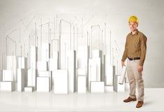 Bauarbeiter, der mit Gebäuden 3d im Hintergrund planiert Stockbild