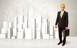 Bauarbeiter, der mit Gebäuden 3d im Hintergrund planiert Stockbilder