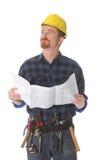 Bauarbeiter, der wundervoll oben schaut lizenzfreie stockbilder