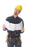 Bauarbeiter, der wundervoll oben schaut lizenzfreies stockfoto