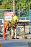 Bauarbeiter, die Rebar befestigen lizenzfreie stockfotos