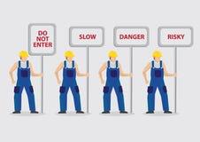 Bauarbeiter, die Warnzeichen-Vektor-Illustration tragen Stockbilder