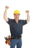 Bauarbeiter ekstatisch lizenzfreies stockfoto