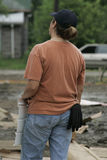 Bauarbeiter mit Abstellgleise Stockfoto