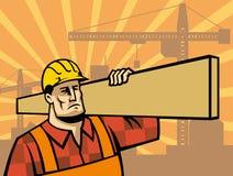 Bauarbeiter mit Brett Stockbild