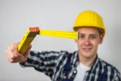 Bauarbeiter mit einem Machthaber Lizenzfreies Stockfoto
