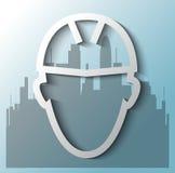 Bauarbeiter mit Gebäudehintergrund Lizenzfreies Stockfoto
