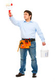 Bauarbeiter mit Wannen- und Pinselanstrich stockfoto
