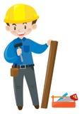 Bauarbeiter mit Werkzeugkasten Stockbilder