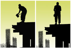 Bauarbeiter setzten Verschalung Lizenzfreies Stockbild