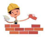 Bauarbeitergebäudewand-Illustrationszeichentrickfilm-figur stock abbildung