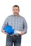 Bauarbeiterholdinglichtpausen stockbilder