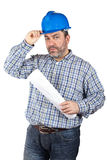 Bauarbeiterholdinglichtpausen lizenzfreie stockfotografie